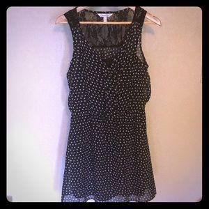 Size L Tan and Black Polka Dot Dress